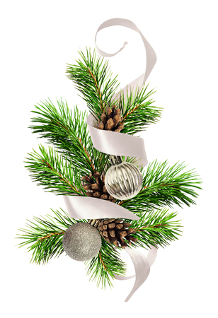 Christmas decoration with pine twigs, silver balls and gray ribbon isolated on white background