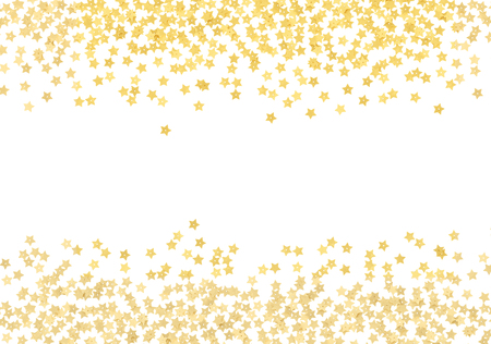 Scattered gold star shape confetti borders isolated on white background