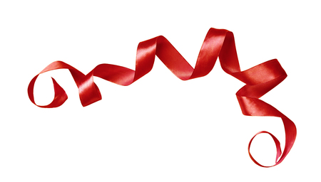 Curled red silk ribbon isolated on white
