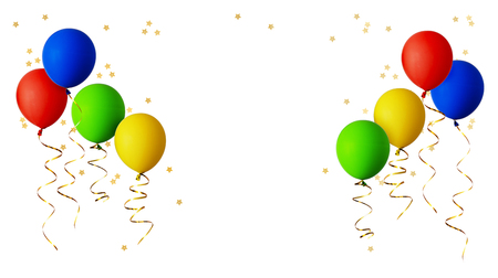 Red, blue, green and yellow balloons with gold ribbons and star shape confetti isolated on white background