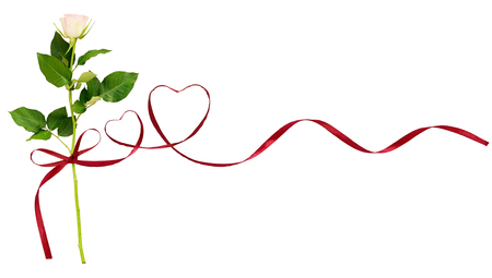 Red silk ribbon hearts and white rose flower for Valentine's day isolated on white background  Foto de archivo