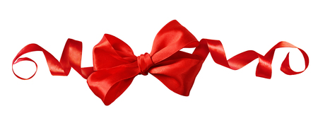 Red satin ribbon bow in a line festive arrangement isolated on white background