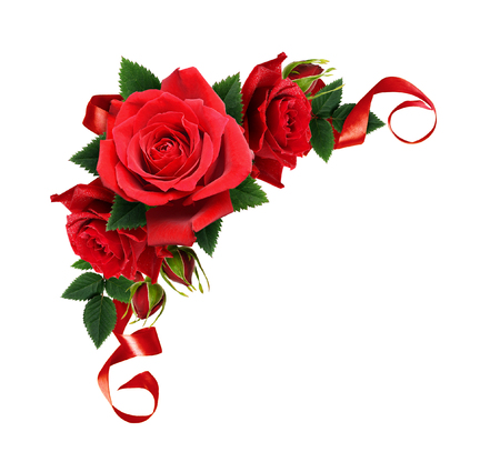 Red rose flowers and silk ribbon in corner arrangement isolated on white background. Top view. Flat lay.