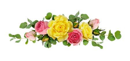 Rosa und gelbe Rose blüht mit Eukalyptus verlässt in einer Anordnung lokalisiert auf weißem Hintergrund . Flach legen . Draufsicht Standard-Bild - 96595440