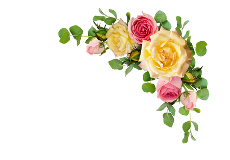 Pink and yellow rose flowers with eucalyptus leaves in a corner arrangement isolated on white background. Flat lay. Top view. Stock fotó