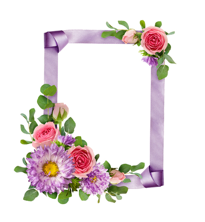 Purple asters and pink rose flowers with eucalyptus leaves in a corner arrangements with ribbon frame isolated on white background. Flat lay. Top view. 스톡 콘텐츠
