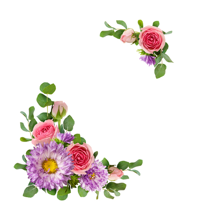 Purple asters and pink rose flowers with eucalyptus leaves in a corner arrangements isolated on white background. Flat lay. Top view. Reklamní fotografie