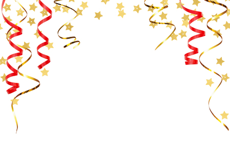 Festive background with twisted ribbons and golden star confetti isolated on white Фото со стока