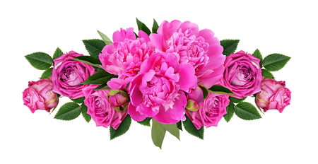 Pink peonies and rose flowers in a line floral arrangement isolated on white Stock fotó