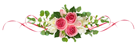 Horizontal arrangement with pink roses, freesia flowers, eucalyptus leaves and sarin ribbons isolated on white. Top view. Flat lay. 免版税图像