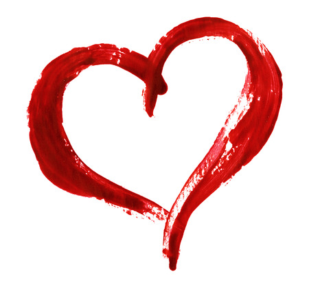 Closup of red heart painted with a brush isolated on white background for Valentine's day