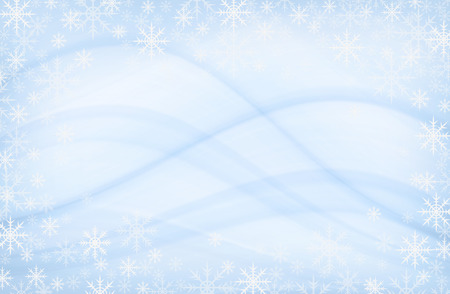 Snowflakes frame on blue abstract background