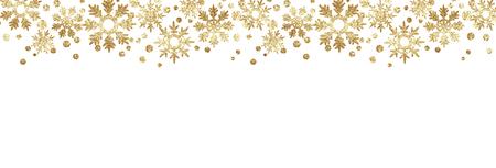 Golden glitter snowflake borders isolated on black background.