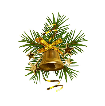 Golden ribbon bow and Christmas decorations with golden bell and pine twigs isolated on white