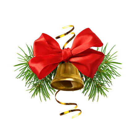 Red ribbon bow and Christmas decoration with golden bell and pine twigs isolated on white Stock Photo - 114595677