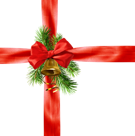 Red ribbons, bow and Christmas decorations isolated on white background Stock Photo - 114595745