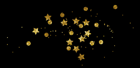 Scattered golden seqines and stars isolated on black background 版權商用圖片