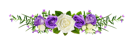 Line arrangement with rose flowers and eustoma isolated on white. Flat lay. Top view.