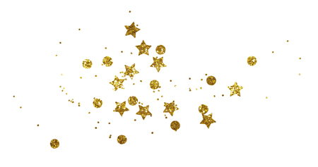 Scattered golden seqines and stars isolated on white background 版權商用圖片