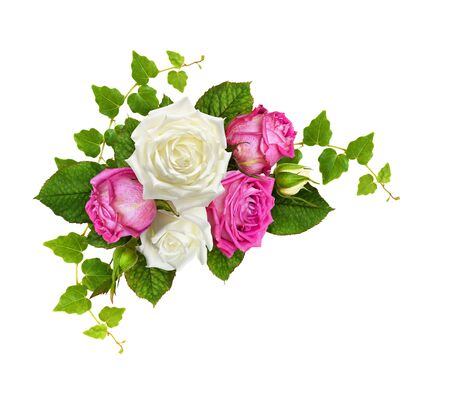 Pink and white rose flowers with ivy green leaves in a corner arrangement isolated on white background