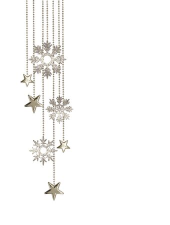 Christmas arrangement with hanging decorative silver stars and glitter snowflakes isolated on white background