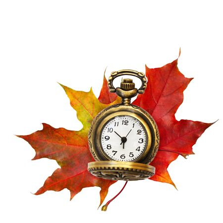 Red autumn maple leaves and clock isolated on white Reklamní fotografie