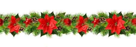 Christmas garland with red poinsettia flowers, pine twigs and decorations isolated on white. Flat lay. Top view. Seamless pattern.