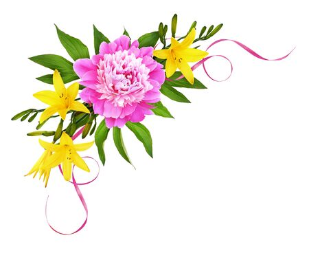 Pink peony flower with yellow lilies and silk ribbons in a corner floral arrangement isolated on white