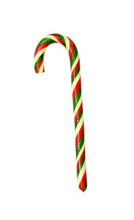 Sweet Christmas caramel cane isolated on white Stock Photo