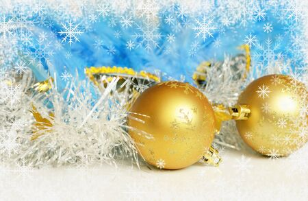 Christmas balls with tinsel and mask on white background with snowflakes frame
