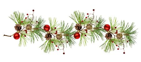 Pine branch with cones, Christmas decoration and red dry berries in a line arrangement isolated on white