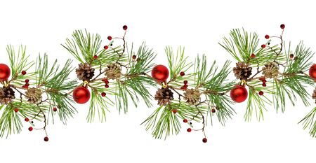 Pine branch with cones, Christmas decoration and red dry berries in a line arrangement isolated on white. Seamless pattern. 版權商用圖片