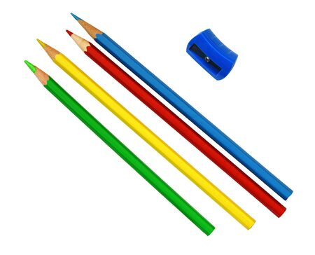Colorful pencils and sharpener isolated on white