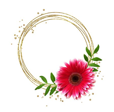 Round glitter frame, gerbera flower and green leaves isolated on white background Фото со стока