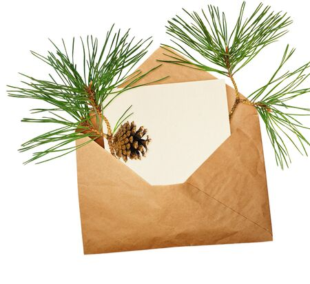 Opened craft paper envelope with empty piece of paper and pine twigs isolated on white background