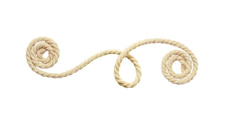 Beige cotton rope arrangement isolated on white