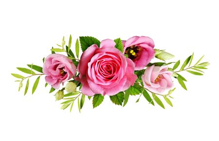 Pink roses and eustoma flowers in a floral arrangement isolated on white