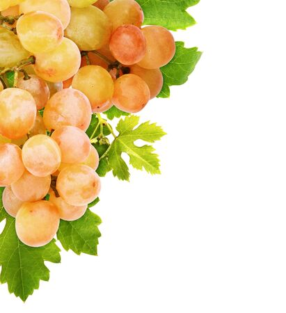 Bunch ripe grapes and green leaves in a corner isolated on white background Banque d'images