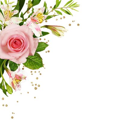 Pink roses and alstroemeria flowers with glitter golden confetti in a corner arrangement isolated on white background