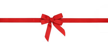 Red rep bow and ribbon isolated on white Imagens