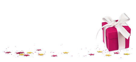 Scattered golden and pink seqines with gift box on white background