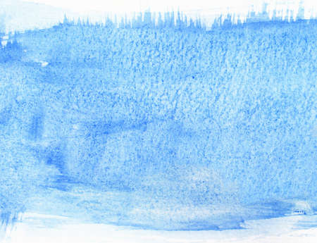 Watercolor painting in blue color with white borders for background