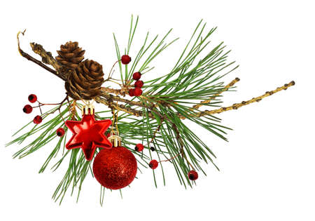 Dry twig of larch with cones, pine branches, Chritmas decorations and red berries isolated on white