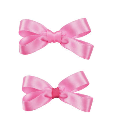 Set of pink satin ribbon bows isolated on white background Stock fotó
