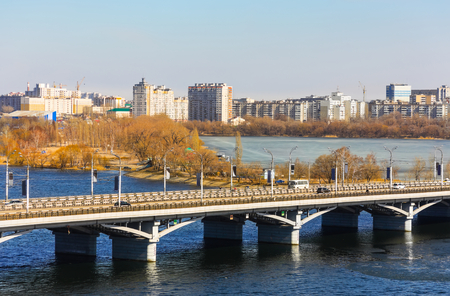 voronezh: Voronezh in March, kind on Chernavsky bridge and Left coast Stock Photo