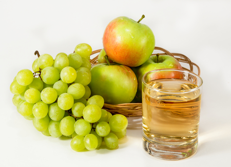 clarified: Transparent juice, green grapes and apples with red side