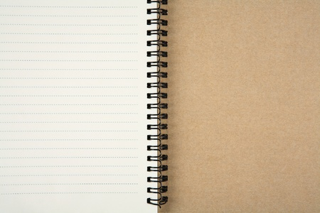 blank recycle paper notebook open two page closeup as background picture for multipurpose use photo