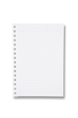 white sheet: One sheet from notebook on white background Stock Photo