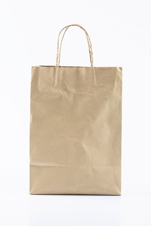 gift spending: Front of Brown Crumpled paper Bag form the market  Stock Photo