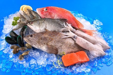 frozen fish: seafood Stock Photo